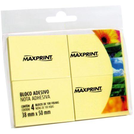 Bloco Adesivo Maxprint 38 x 50 Amarelo